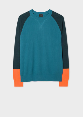 Paul Smith Men's Turquoise Ribbed Cotton Sweater With Contrasting Sleeves