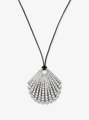 Michael Kors Silver-Tone Pave Seashell Necklace