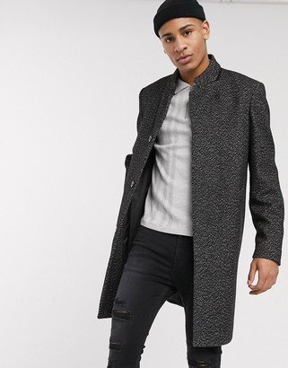 Topman overcoat with high neck in black