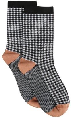 Levante Grazia Cotton Rich Check Crew Sock
