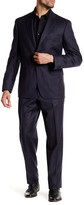 JB Britches Navy Pinstripe Wool Flat Front Side Vent Suit