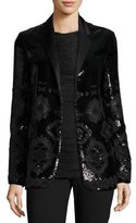 Ralph Lauren Tess Geometric-Beaded Tuxedo Jacket, Black