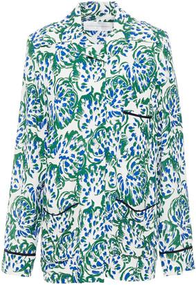 Victoria Victoria Beckham Printed Textured-crepe Shirt