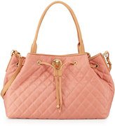 Moschino Borsa Quilted Faux-Leather Tote, Pink/Nude