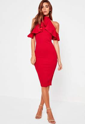 Missguided Red Frill Cold Shoulder Bodycon Midi Dress