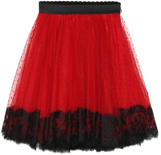 Dolce & Gabbana Kids Lace-trimmed tulle skirt