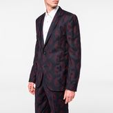 Paul Smith Men's Tailored-Fit Navy Wool-Cashmere Embroidered Paisley Blazer