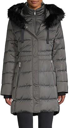 Tahari Stefani Faux Fur-Trim Down Puffer Jacket