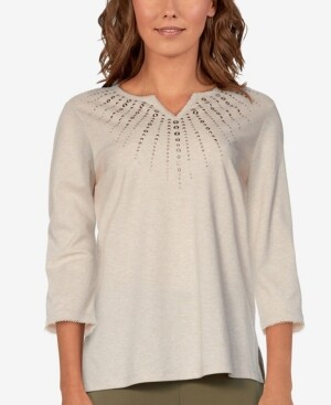 Thumbnail for your product : Alfred Dunner Women's Missy San Antonio Sunburst Embellished Top