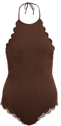 Marysia Swim Mott Scalloped-edged Swimsuit - Womens - Brown