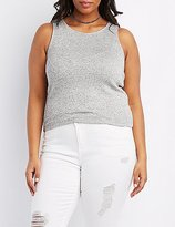 Charlotte Russe Plus Size Racer Front Crop Top