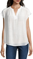 Liz Claiborne Short-Sleeve Split-Neck Blouse
