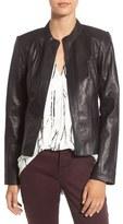Halogen Raw Edge Pieced Leather Jacket (Regular & Petite)