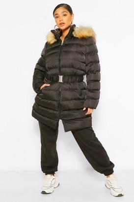 boohoo Plus Belted Faux Fur Hooded Puffer Long Coat