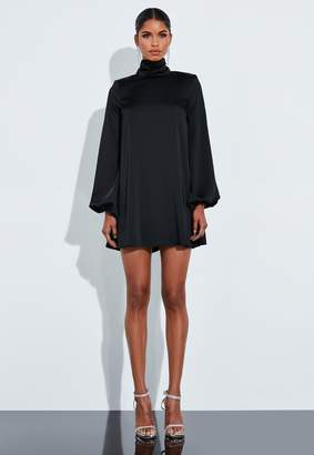 Missguided Black Satin Button High Neck Floaty Mini Dress
