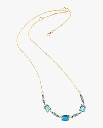 Yi Collection One-of-a-Kind Topaz Ruby Deco Necklace