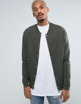Asos Jersey Bomber Jacket With Snaps In Khaki