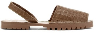 Stine Goya Crocodile-effect Leather Sandals - Mens - Brown
