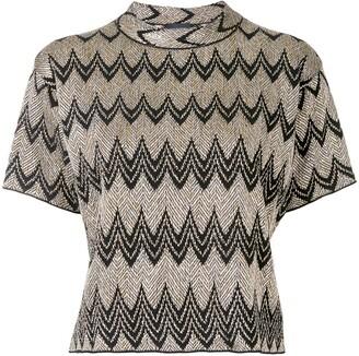 Giambattista Valli Metallic Scallop-Knit Top
