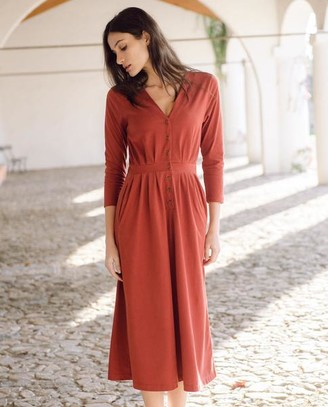Beaumont Organic AW20 - Ruth Organic Cotton Dress In Rust - Rust / Extra Small