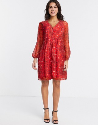 Only nabby v neck ditsy floral dress in red