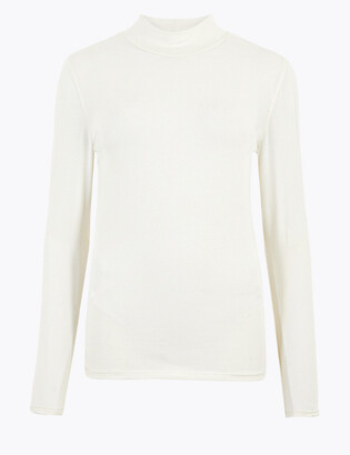 Marks and Spencer Cotton Funnel Neck Fitted Long Sleeve Top