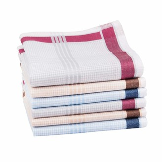"""Houlife Classic 100% 60S Cotton Mens Stripe Checkered Pattern Handkerchiefs Assorted Soft Plaid Hankies for Casual Father's Day Gift 6/12 Pieces 17x17""""/43x43cm"""