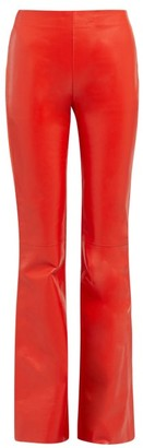Acne Studios Leather-front Bootcut Trousers - Womens - Red