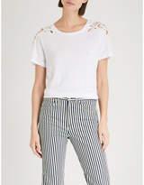 Paige Cassandra crochet-detail linen T-shirt
