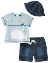 Absorba Boys' Whale Tee, Shorts & Hat Set - Baby