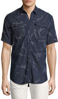 G Star G-Star Landoh Camouflage Chambray Short-Sleeve Shirt, Navy