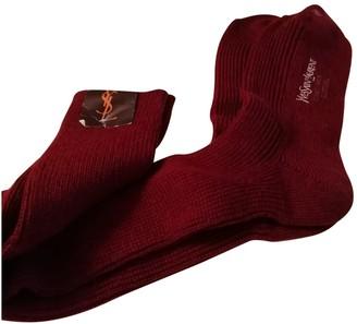 Saint Laurent Burgundy Wool Gloves