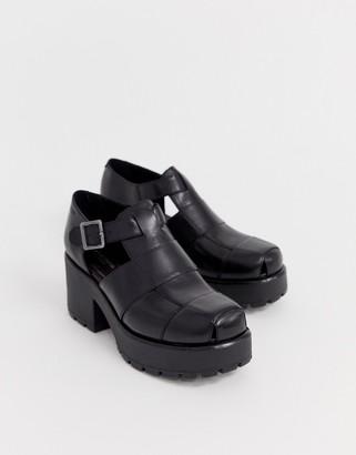 Vagabond Dioon black leather chunky heeled shoes