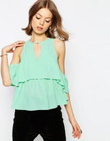 Asos Tiered Cold Shoulder Top
