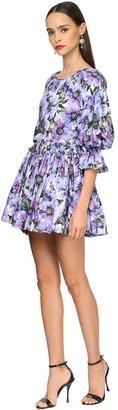 Dolce & Gabbana Anemone Print Charmeuse Dress