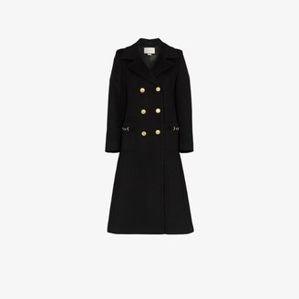 Gucci Womens Black Military Gg Wool Coat
