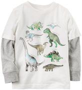 Carter's Baby Boy Mock-Layered Long Sleeve Dinosaur Graphic Tee