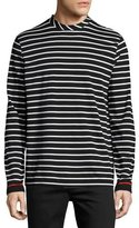 McQ by Alexander McQueen Striped Long-Sleeve T-Shirt, White/Black