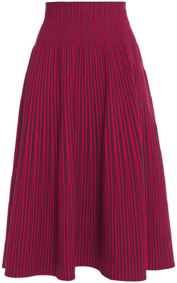 Cédric Charlier Flared Striped Stretch-knit Midi Skirt