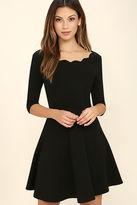 LuLu*s Exclusive Tip the Scallops Black Dress