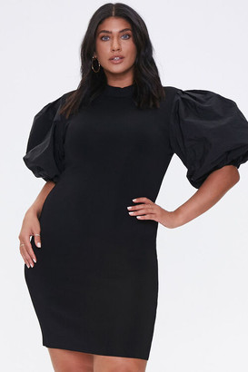 Forever 21 Plus Size Puff-Sleeve Bodycon Dress