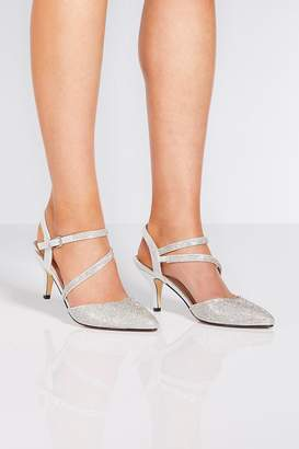 Quiz Silver Low Heeled Shoes