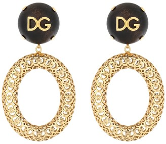 Dolce & Gabbana Logo clip-on hoop earrings