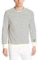 Nautica Men's Striped French Terry V-Neck Sweater