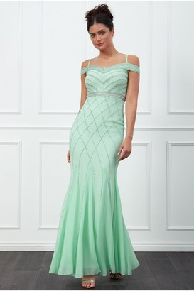 Goddiva Mint Off the Shoulder Embroidered Sequin Maxi Dress