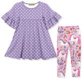 Millie Loves Lily Girls' Casual Dresses Darling - Purple Dot Ruffle A-Line Dress & Pink Darling Unicorns Leggings - Toddler & Girls