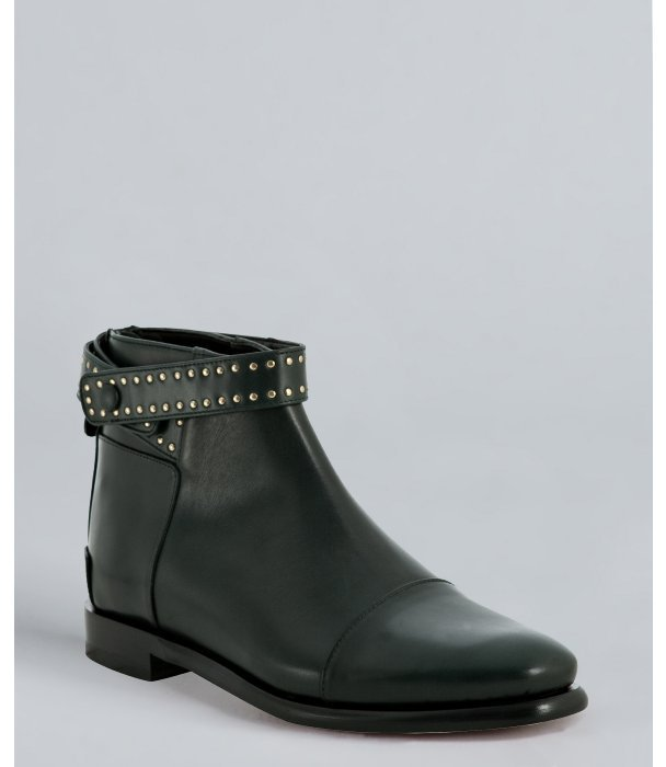Balenciaga dark green leather studded ankle boots