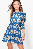 boohoo Petite Millie Reindeer Printed Swing Dress multi