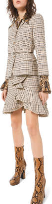 Michael Kors Fitted Plaid Stretch-Wool Blazer