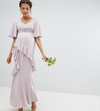 Asos DESIGN Maternity ruffle flutter sleeve maxi dress with embellished belt-Pink